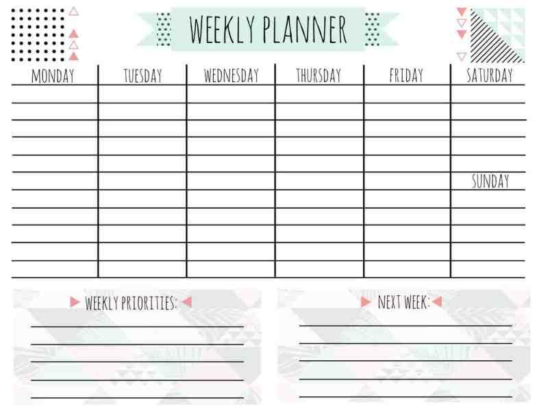 free printable weekly calendar