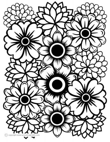 "Free Printable Adult Coloring Pages- ""Just Flowers"" - A ... 