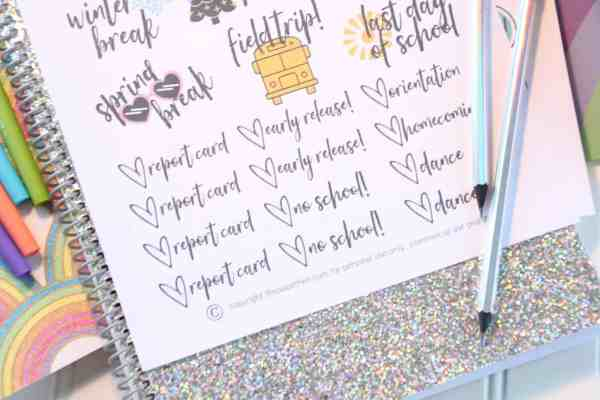 free printable back to school stickers for planners or calendars reminders