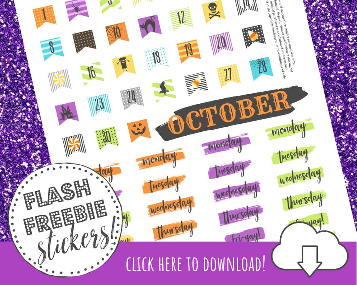picture relating to Halloween Stickers Printable titled Printable Absolutely free Halloween Stickers for Your Pleased Planner - A