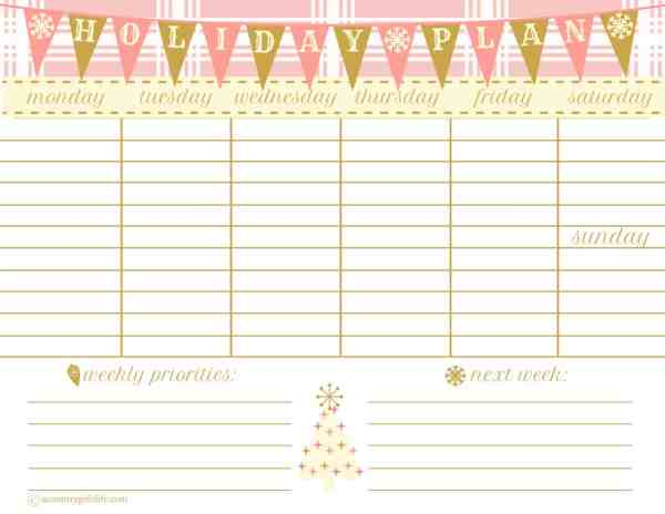 free printable christmas weekly planner