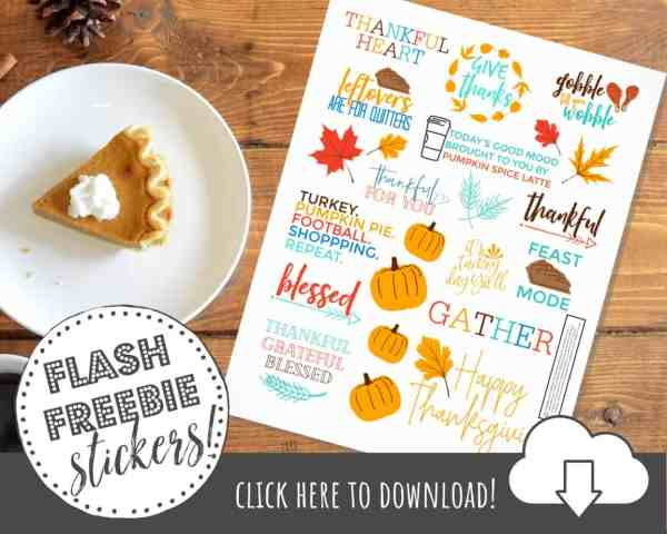 FREE Printable Thanksgiving Stickers for Planners & Crafting
