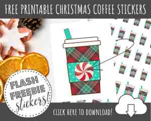 FREE Printable Christmas Coffee Cups Stickers for Planner Decorating