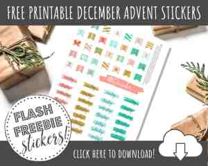 FREE Printable Christmas Advent Stickers for Planner Decorating
