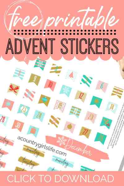 free printable christmas advent stickers