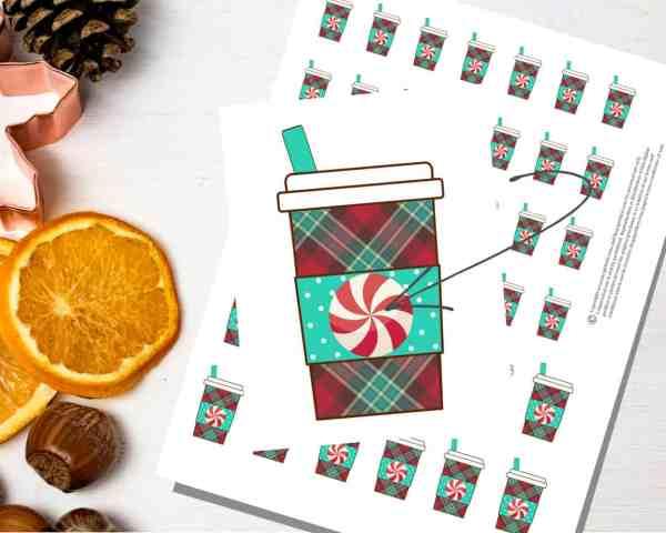 free printable christmas coffee stickers