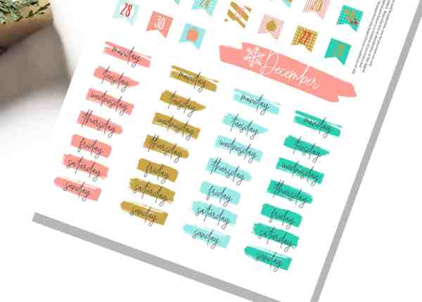 free printable advent stickers