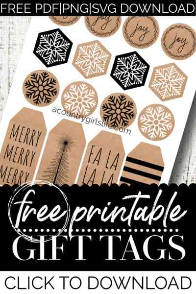 farmhouse style printable gift tags