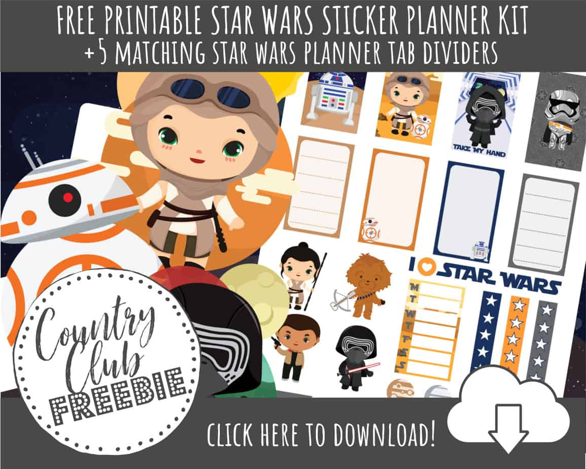 Free Star Wars Printable Planner Stickers Tab Dividers A Country Girl S Life