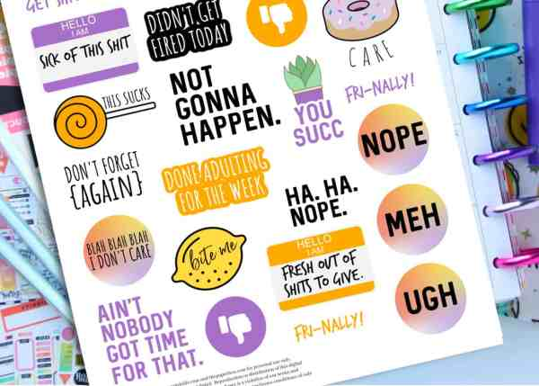 printable sarcastic planner stickers