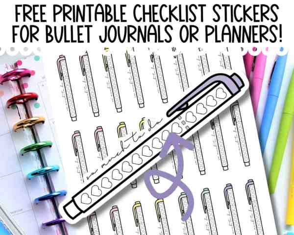 free printable checklist planner stickers for Happy Planner Erin Condren or Bullet Journals