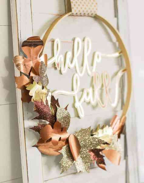 diy farmhouse style fall wreath made with an embroidery hoop