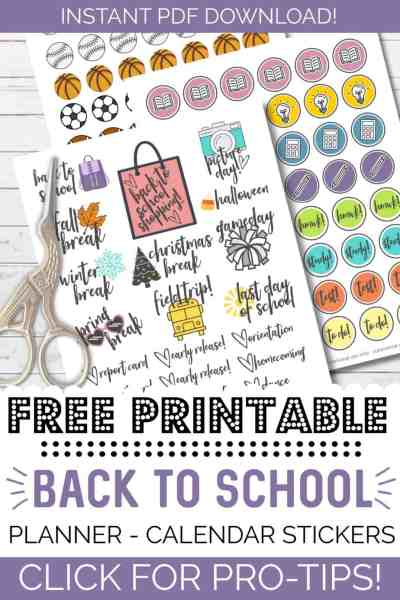 free printable back to school stickers for planners or calendars reminders for students and teachers