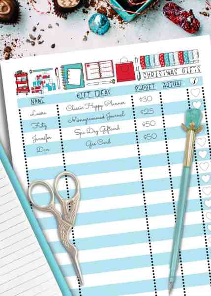 cute christmas gift list printable to organize and budget for the holiday