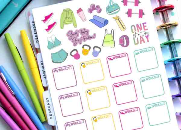 free printable planner stickers for health and fitness