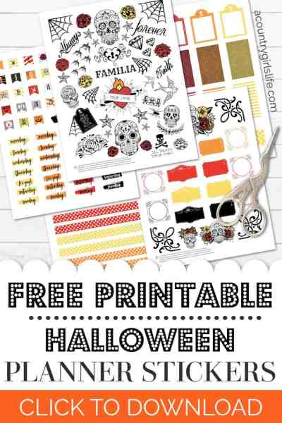 free printable day of the dead planner stickers for halloween