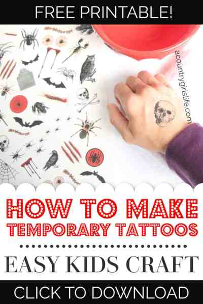 Looking for simple ideas for Halloween kids crafts or activities? Let us show you how to make Halloween themed temporary tattoos at home. This easy DIY even includes FREE printable Halloween pages for printing out your own tattoos at home! #halloween #kidscrafts #freeprintables #diy #easy