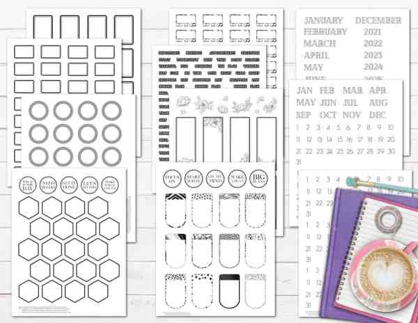 free printable functional planner stickers black and white minimalist basic