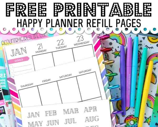 FREE Printable Happy Planner Refill Pages {Classic Sized}