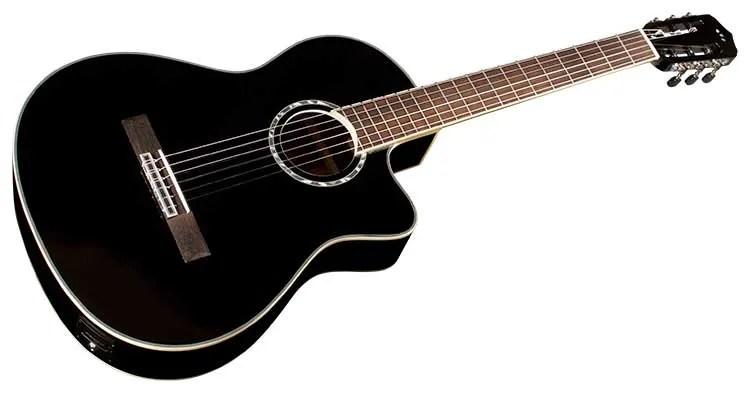 Córdoba Fusion 5 nylon-string guitar in jet black on white background