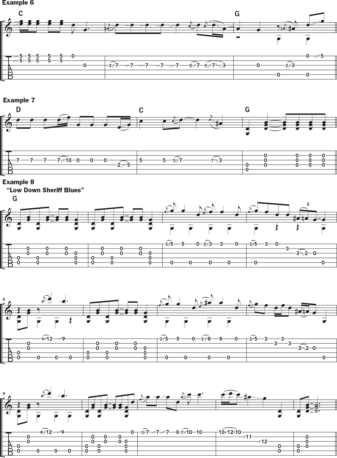 Musical examples 6 through 8 in standard notation and TAB