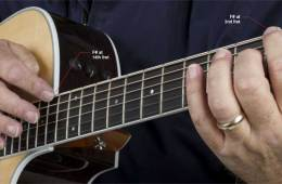 Close-up image of an acoustic guitarist playing an F# harp harmonic at the 14th fret
