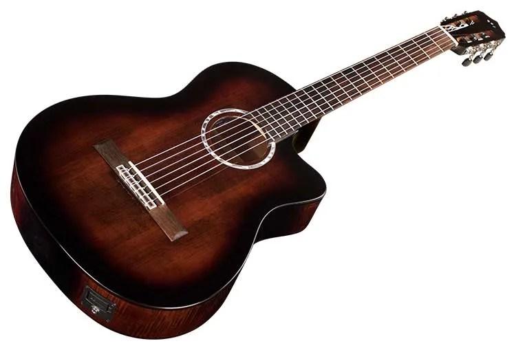 Córdoba Fusion 5 nylon-string guitar in sonata burst on white background