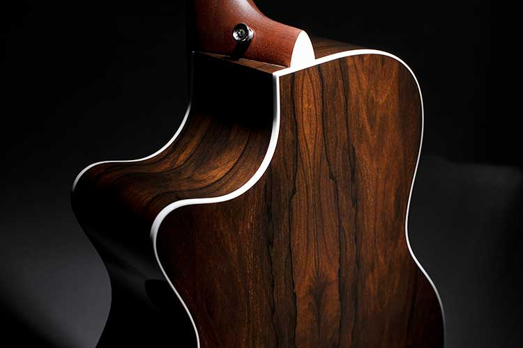 Martin GPC-13E Ziricote Acoustic Guitar back with bright white binding closeup