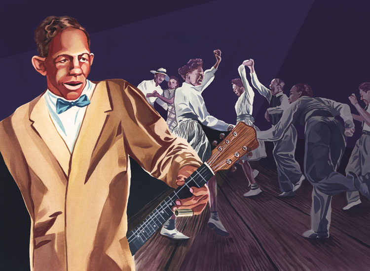 Illustration of Charley Patton in a blue bow tie playing acoustic guitar behind his back.