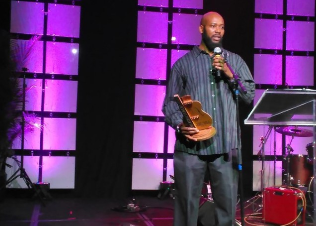 Derron Black of the Mutual Musicians Foundation accepted the Legacy Lifetime Achievement Award for Sonny Terry and Brownie McGhee
