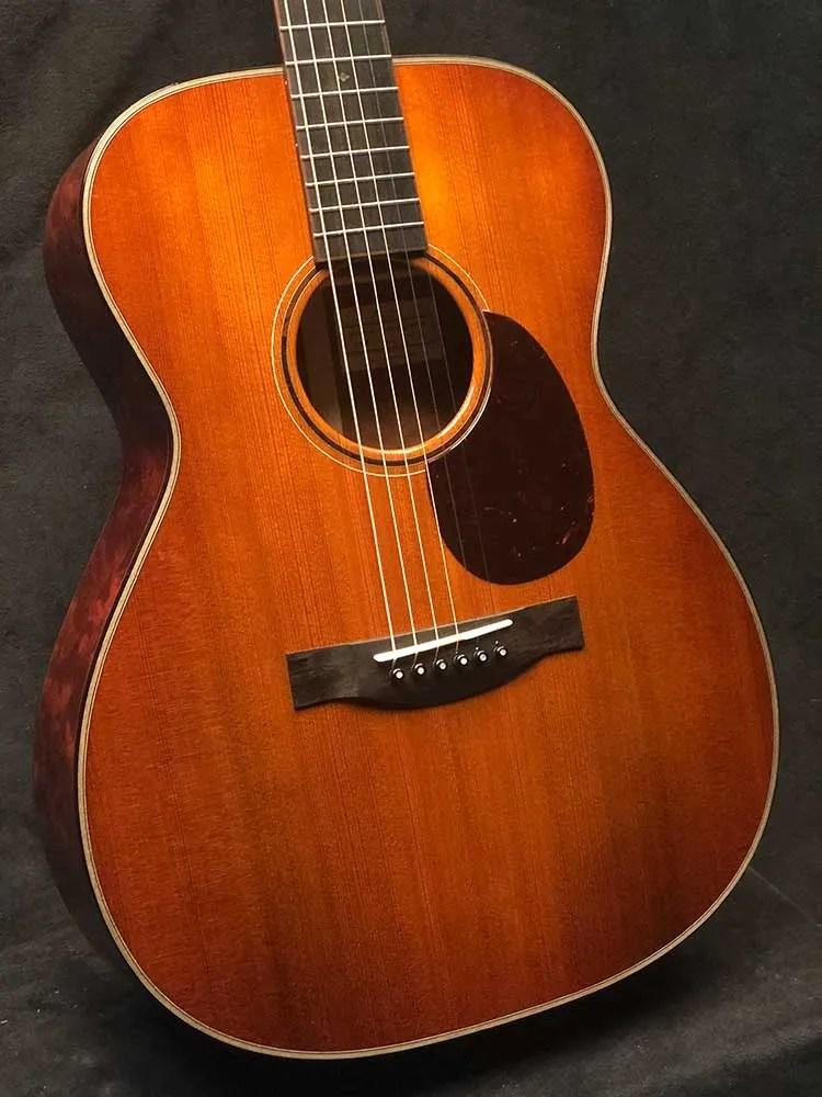 Body of a 2021 Santa Cruz OM Custom acoustic guitar made from Tunnel 13 Redwood
