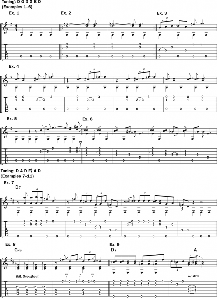 Musical examples 1 through 9 featuring standard notation and tablature to accompany the text of this lesson on how to play like Alvin Youngblood Hart.
