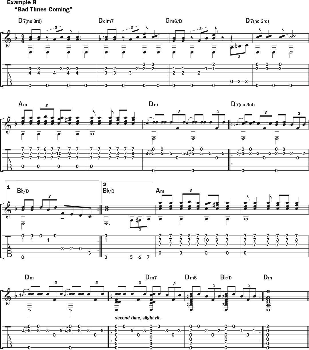 Musical example 8 in standard notation and TAB to accompany this lesson on how to play acoustic guitar like Skip James.