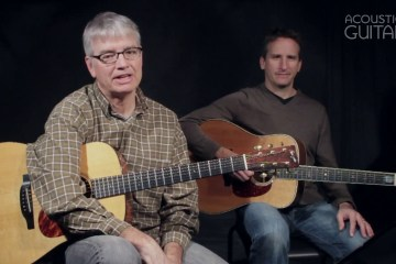 photograph of scott nygaard and dan gabel sitting side-by-side with their acoustic guitars ready to play
