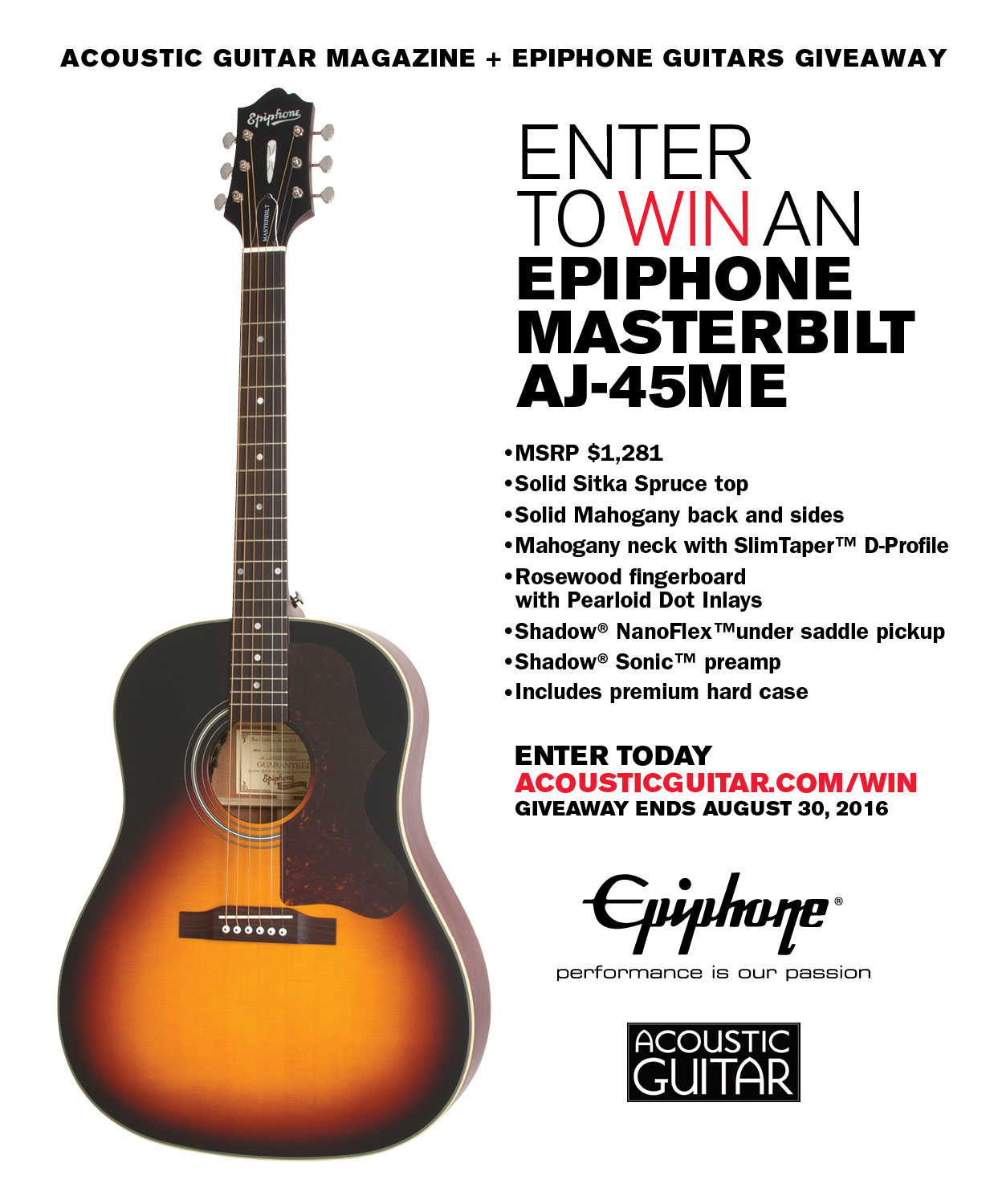 enter to win an epiphone masterbilt aj 45me acoustic guitar. Black Bedroom Furniture Sets. Home Design Ideas