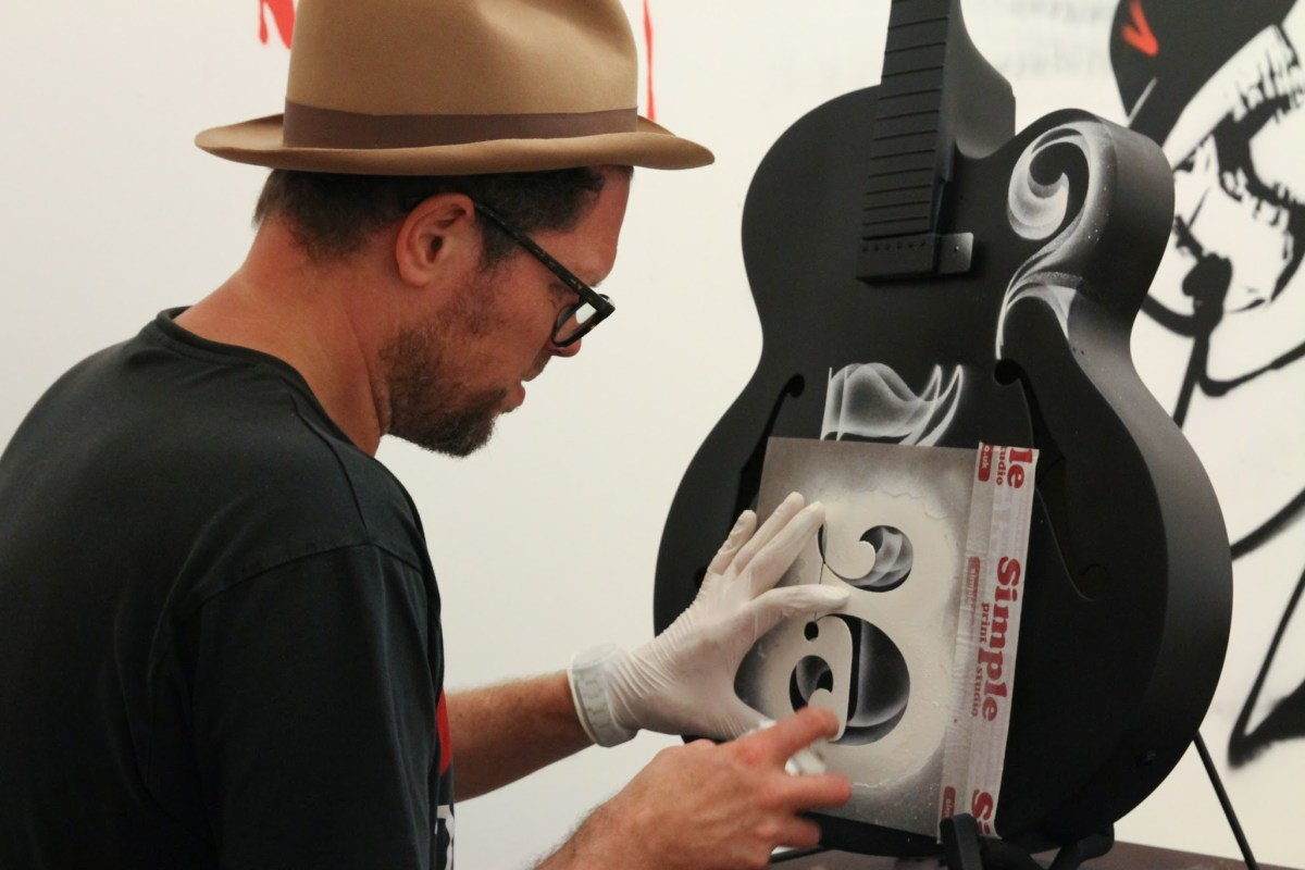 Nick Walker's His reimagining of a D'Angelico Guitar blended the conception of musical notes as numbers.