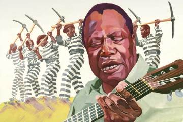 "Illustration of Booker ""Bukka"" White playing his acoustic guitar"