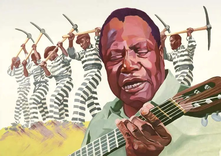 Illustration of Bukka White playing his acoustic guitar and singing, with a prison work crew working in the background.