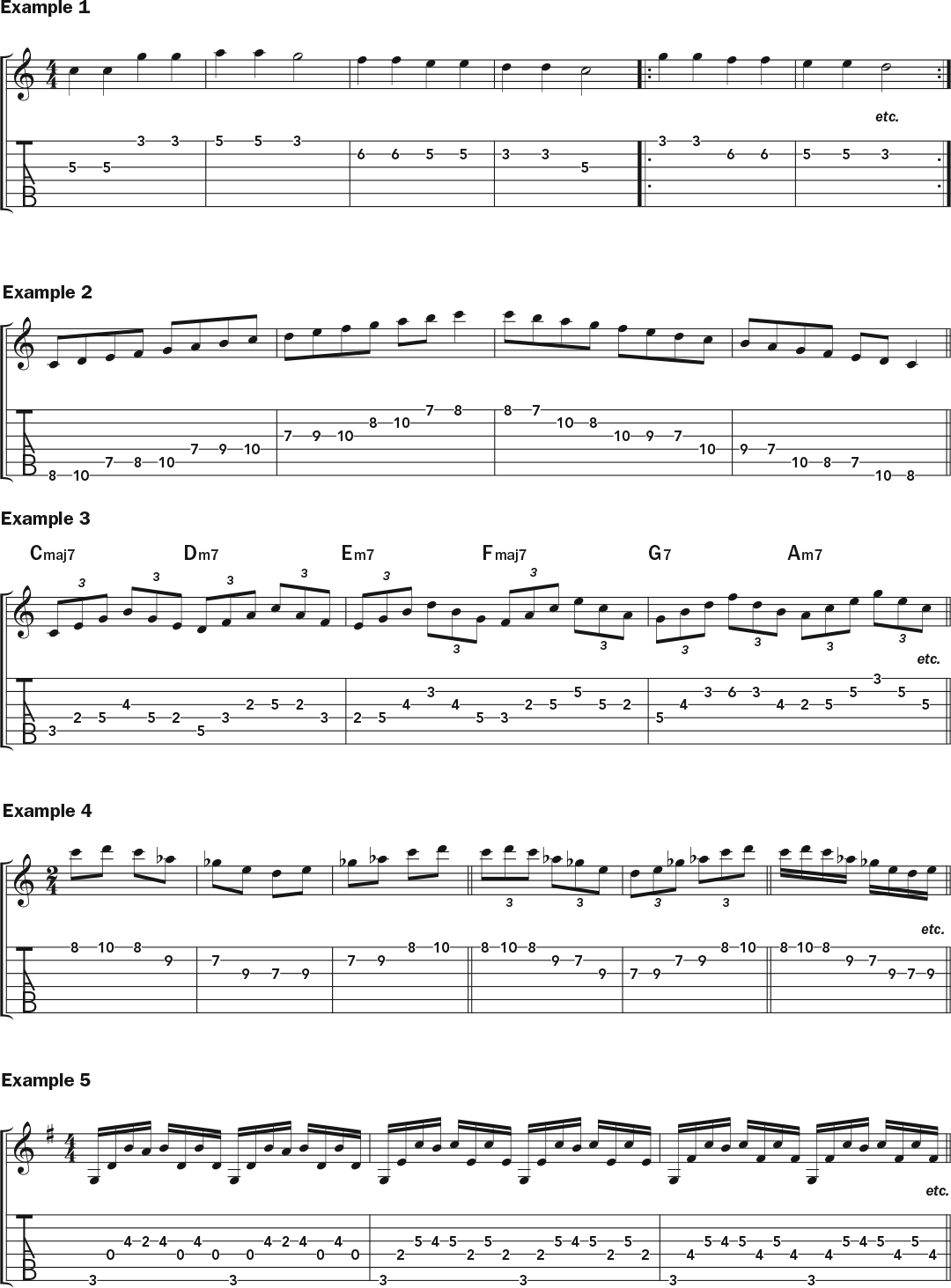notation and tab for guitar lesson on playing slowly to build speed