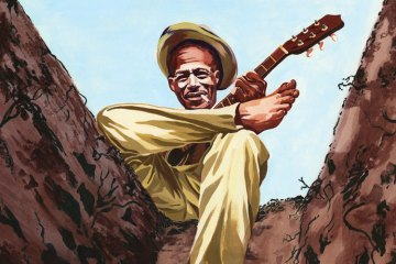 Illustration of Son House playing his acoustic guitar with his right ankle crossed over his left knee