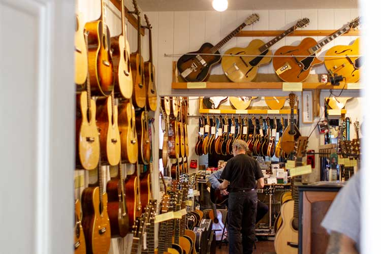 Schoenberg's shop is jam packed with both new and vintage instruments.