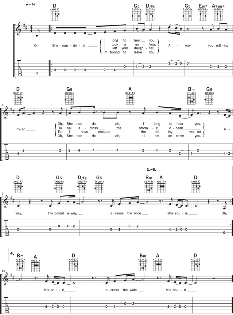 guitar notation for 'Oh Shenandoah' page 2