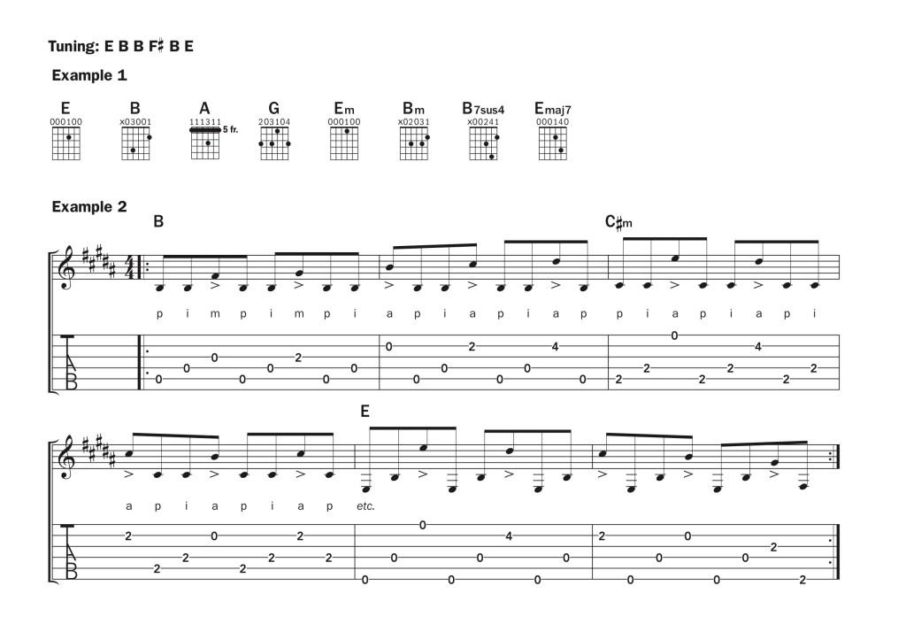 Guitar lesson alternate tuning E B B F# B E music notation