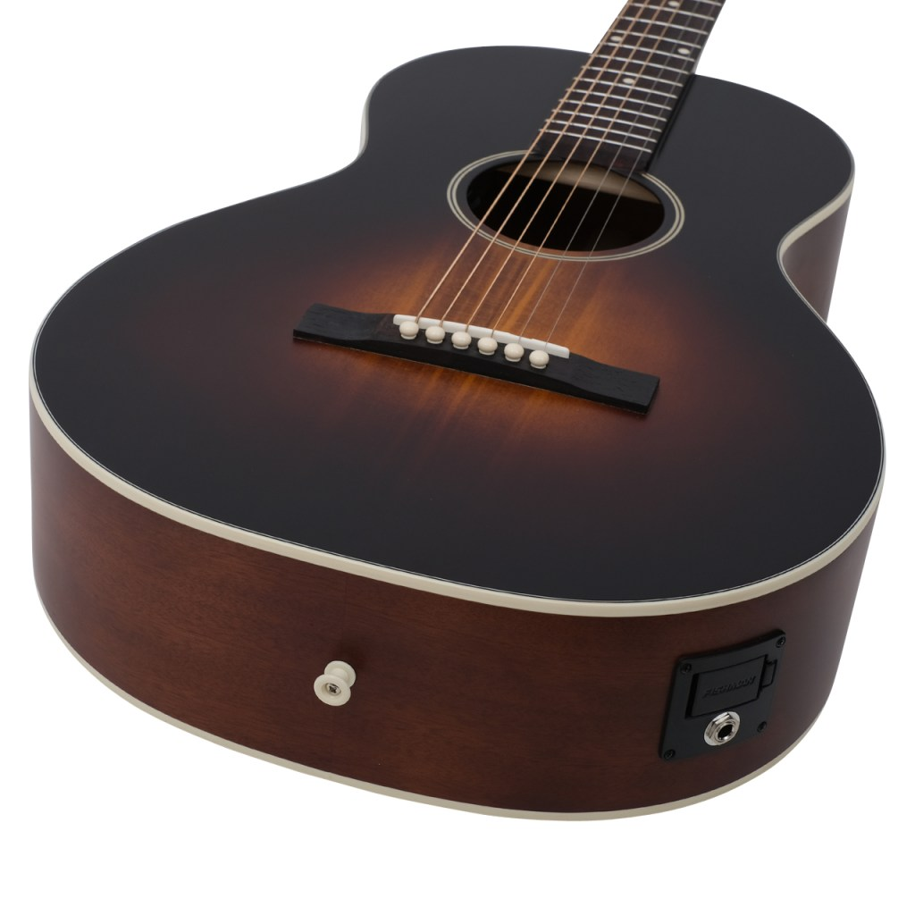Recording King Limited Edition Dirty 30s Deluxe Single 0 acoustic guitar angle