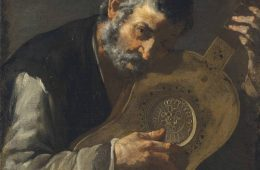 Painting of man playing a guitar by master of the annunciation to the shepherds