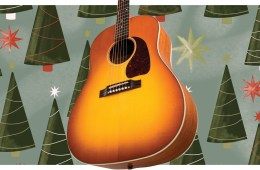 acoustic guitar with christmas trees
