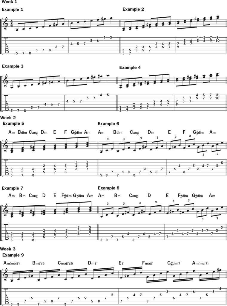 Building Colorful Chords from the Harmonic and Melodic Minor Scales guitar lesson music notation sheet 1