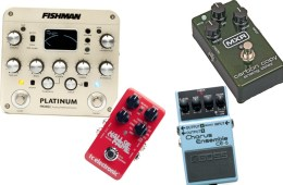collage of various guitar effects pedals and signal processors