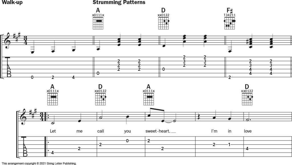 """Musical notation and guitar tablature for the song """"Let Me Call You Sweetheart"""""""