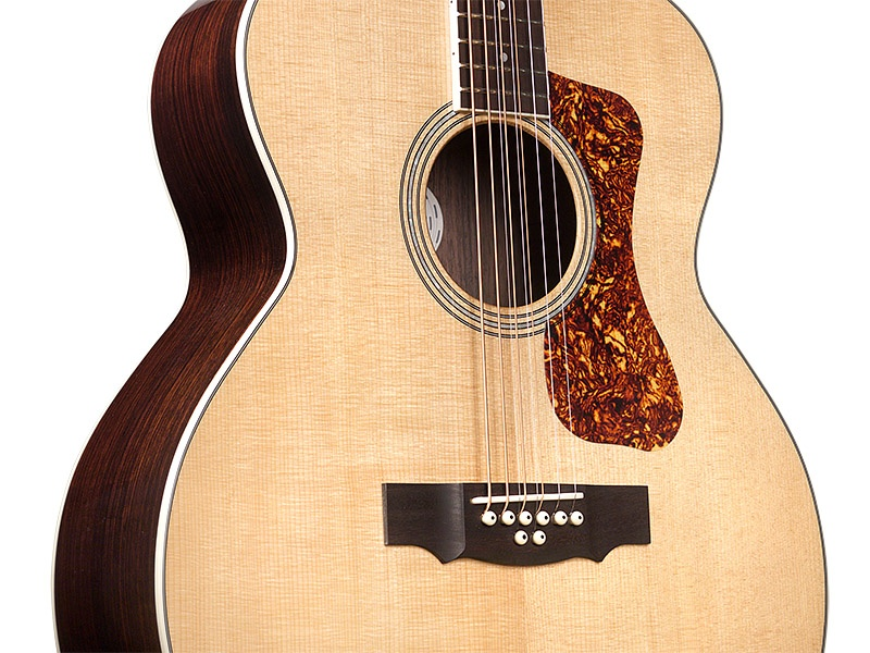 close up of Guild BT-258E Deluxe 8-String Baritone guitar